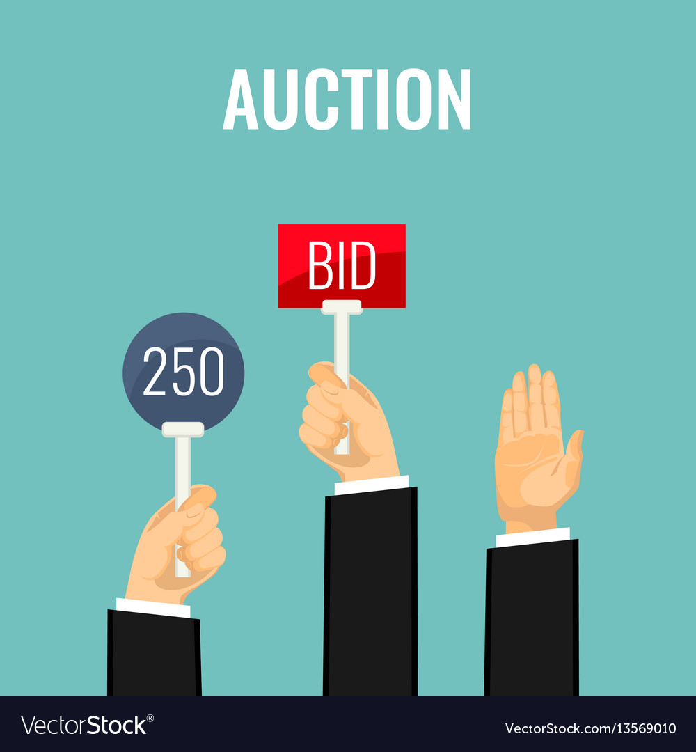 Auction with hands holding paddles number and bid