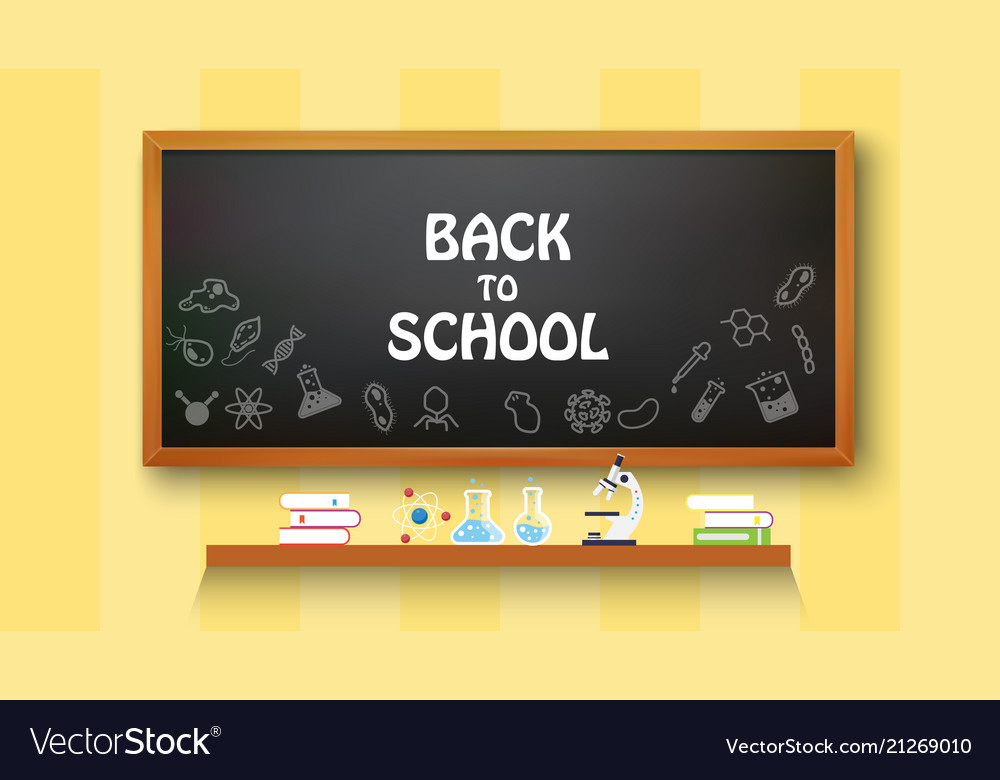 Back to school text drawing on with school items