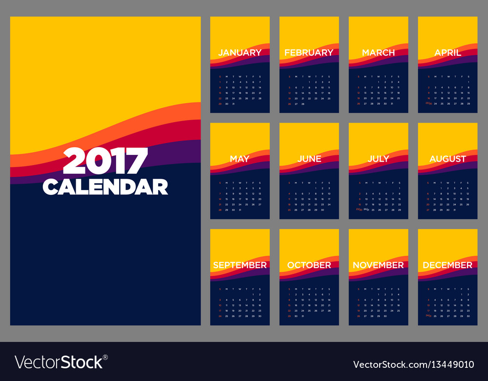 Calendar 2017 flat design for a year