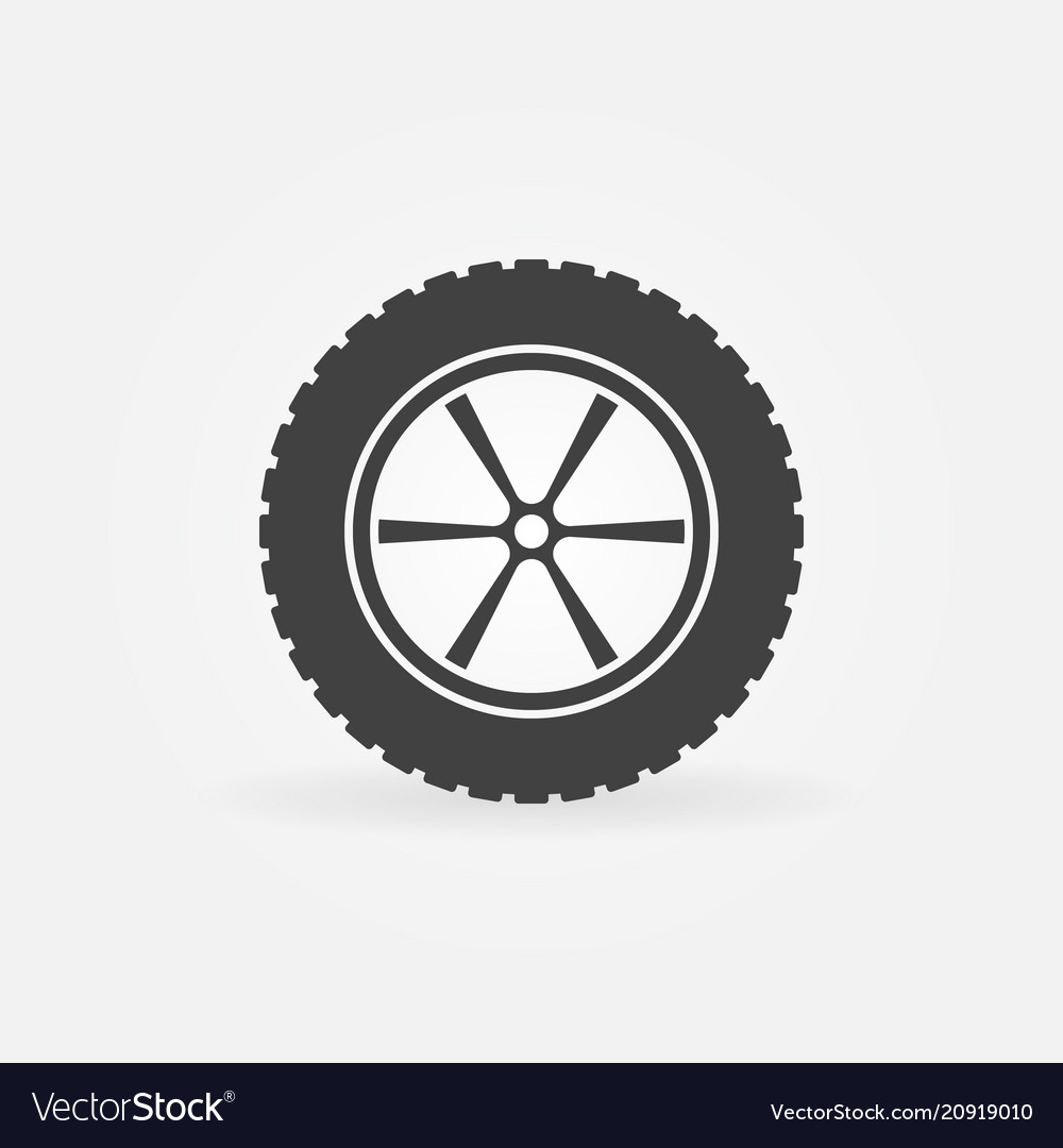 Car wheel with tyre icon or sign