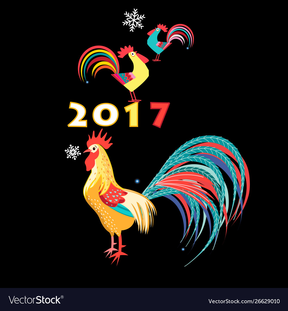 Christmas card with roosters