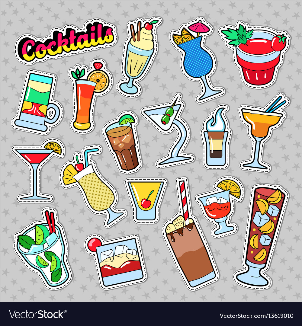 Cocktails and drinks set for stickers