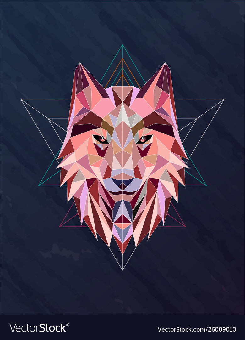Colorful abstract polygonal wolf head