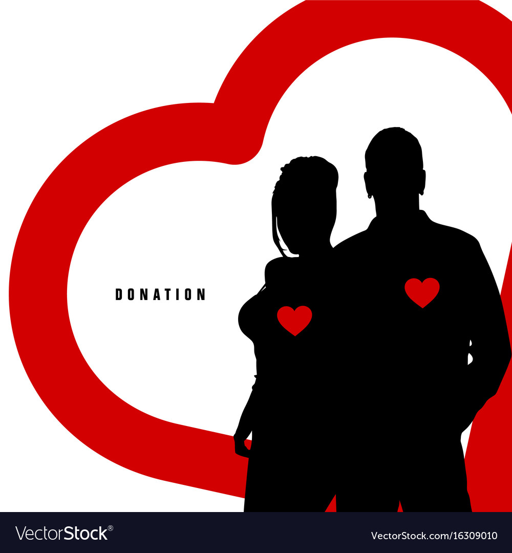 Donation with couple silhouette in color