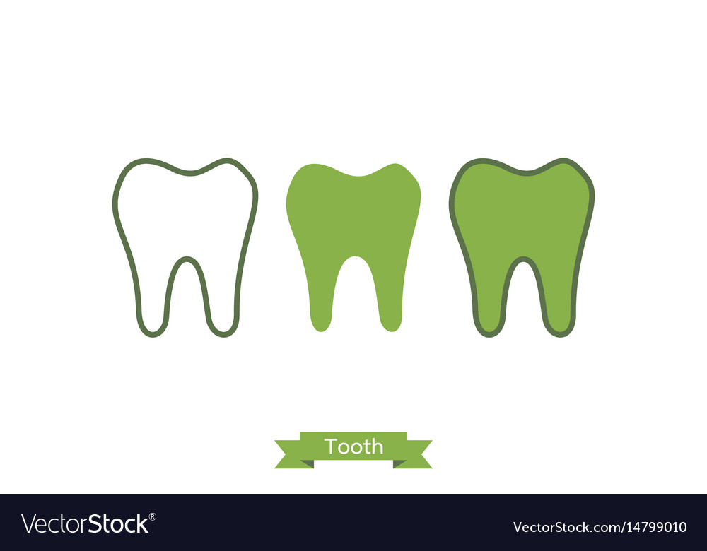 Flat tooth icon - cartoon outline style