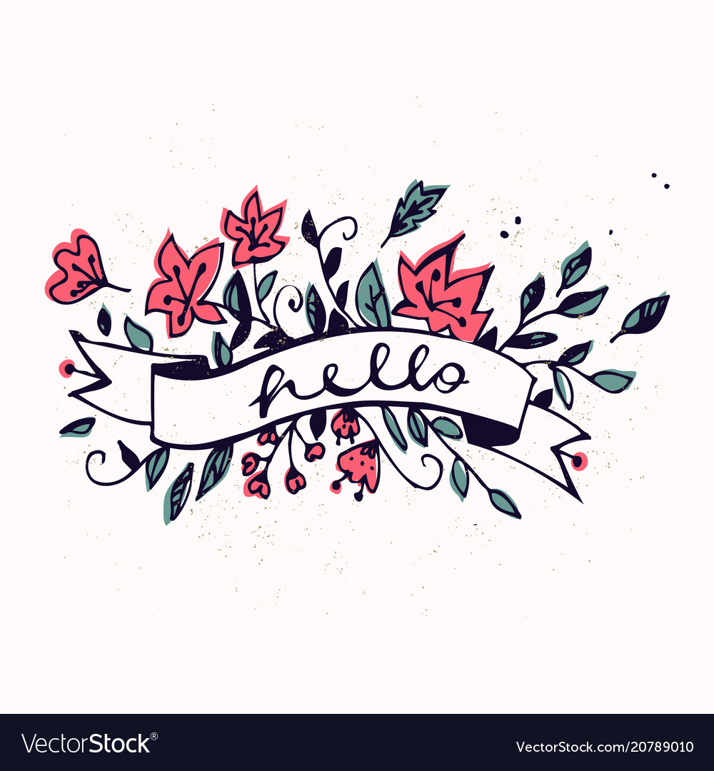 Hello lettering with ribbon and hand drawn spring