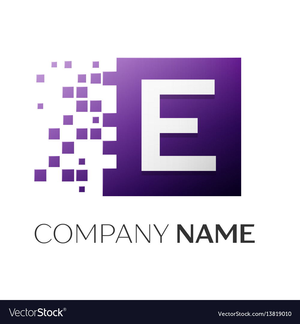 Letter e logo symbol in the colorful square with