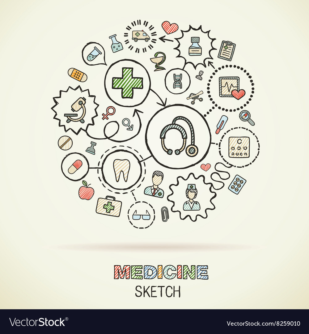 Medical hand drawing connected icons vector image
