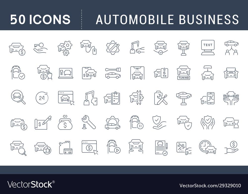 Set line icons automobile business