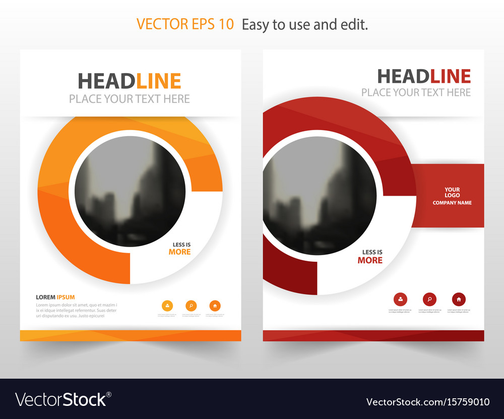 Yellow red circle abstract annual report brochure vector image
