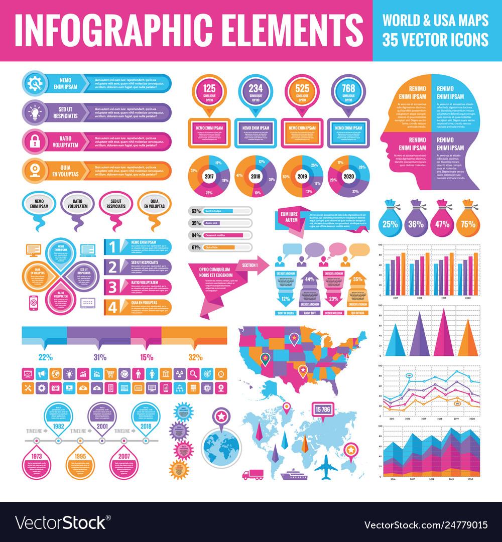 Big set business infographic elements