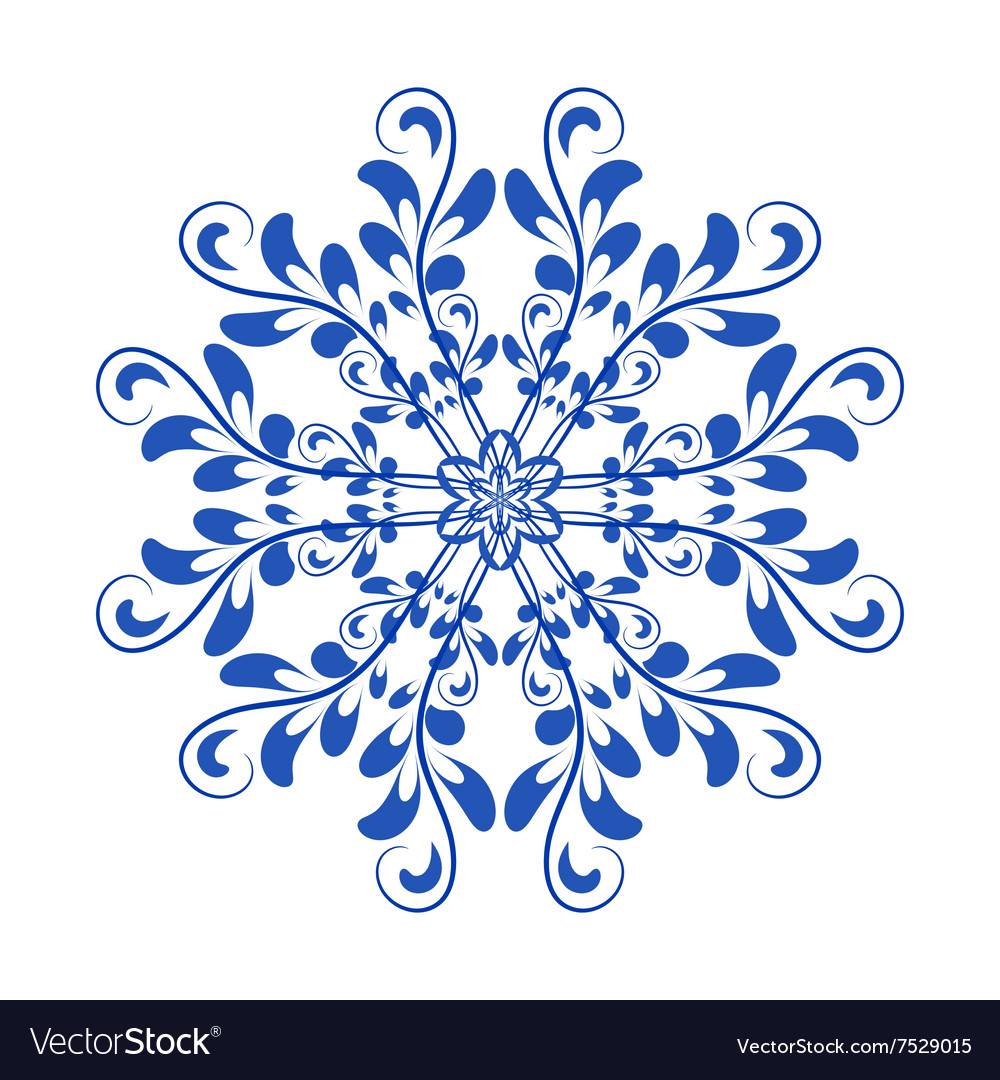 Blue floral Russian national ornament in