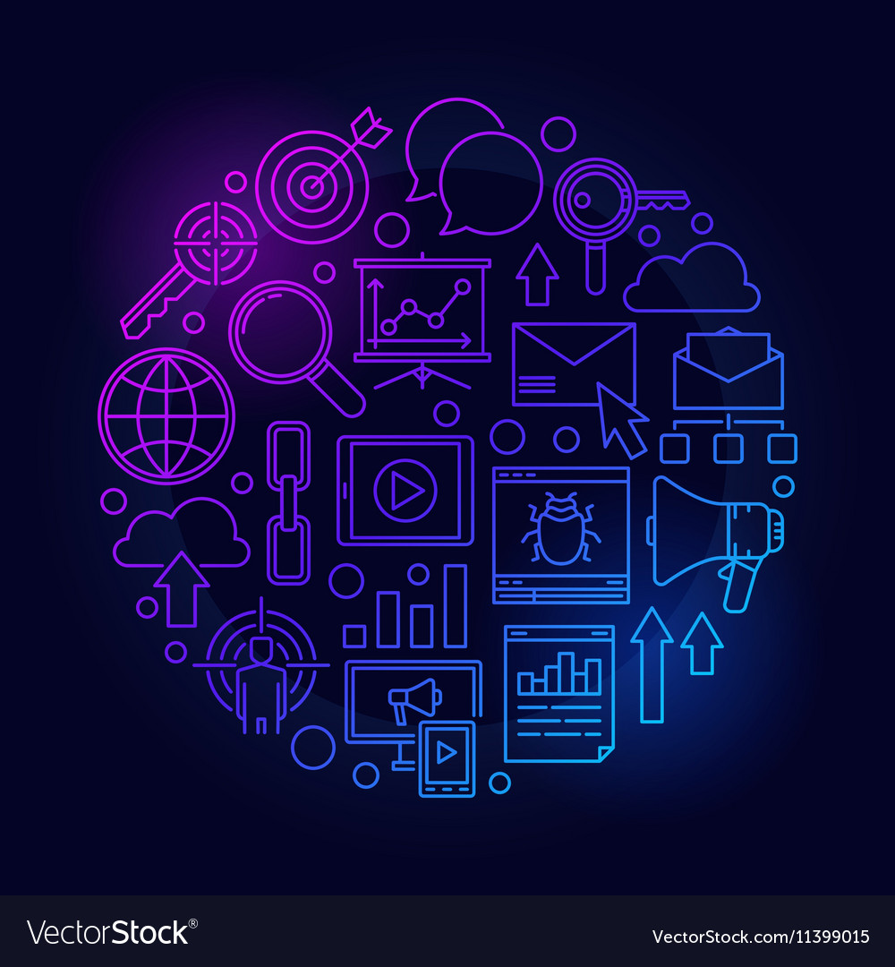 Blue SEO and internet marketing vector image