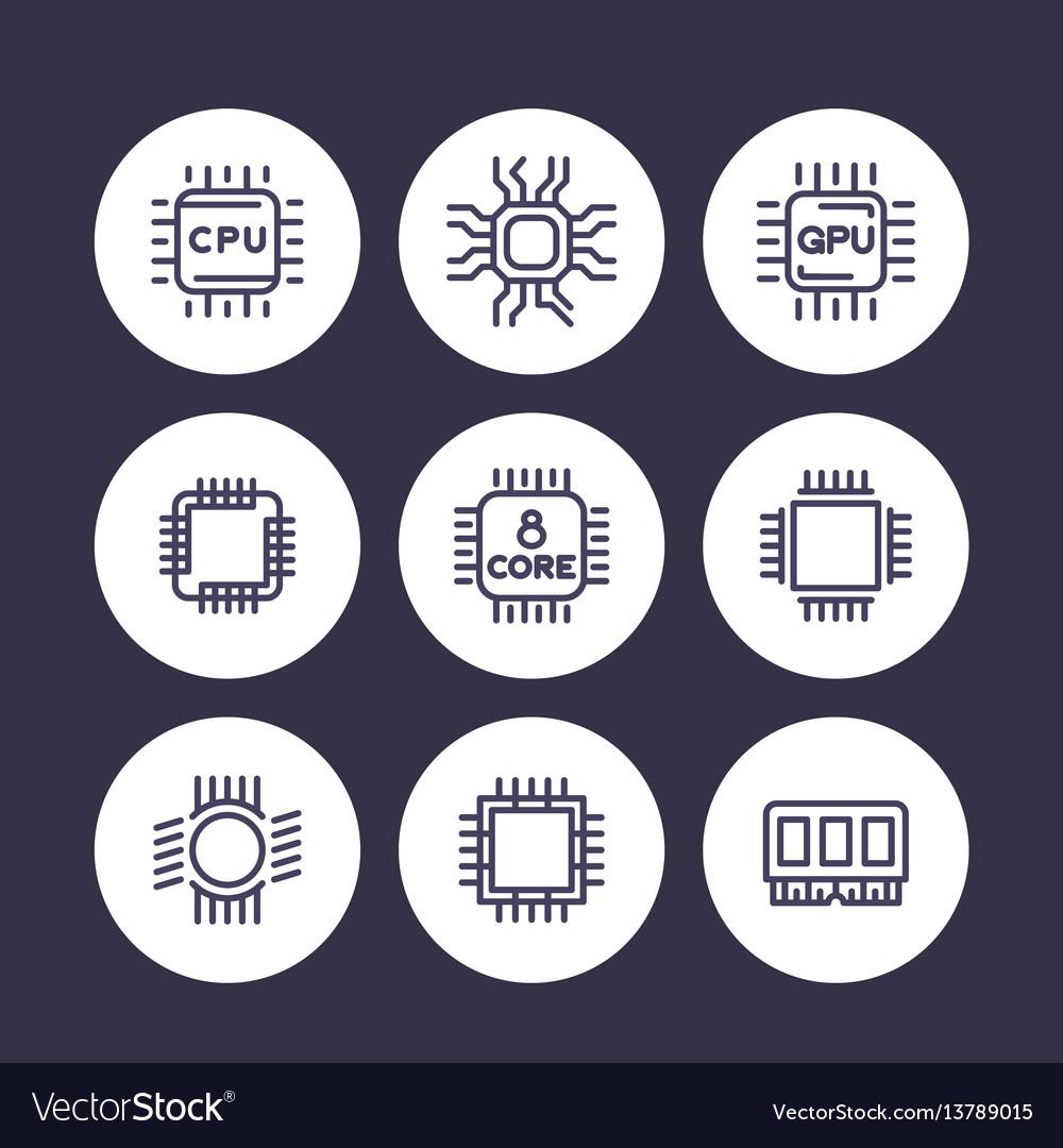 Chipset cpu line icons set microchip gpu 8-core
