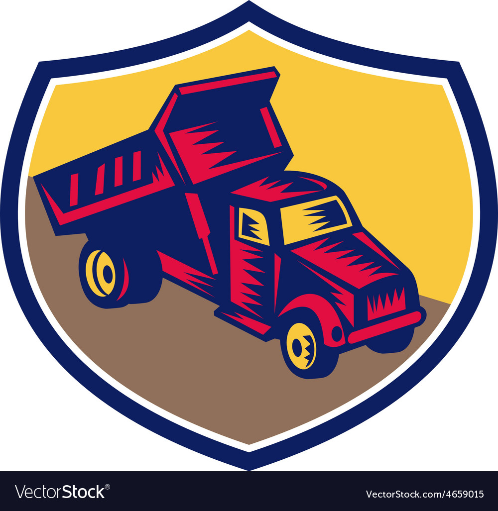 Dump Truck Shield Woodcut
