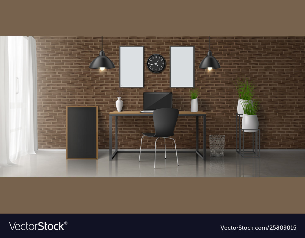 Modern home office workplace interior