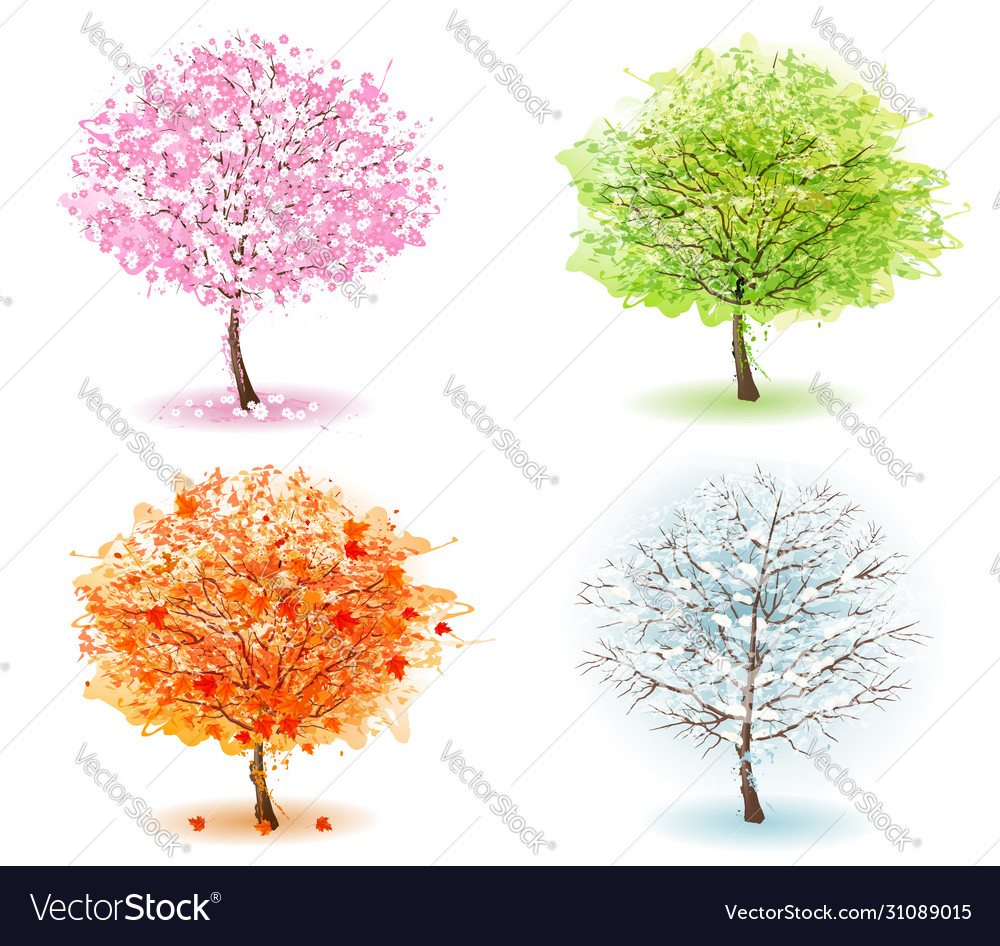 Nature four stylized trees representing different