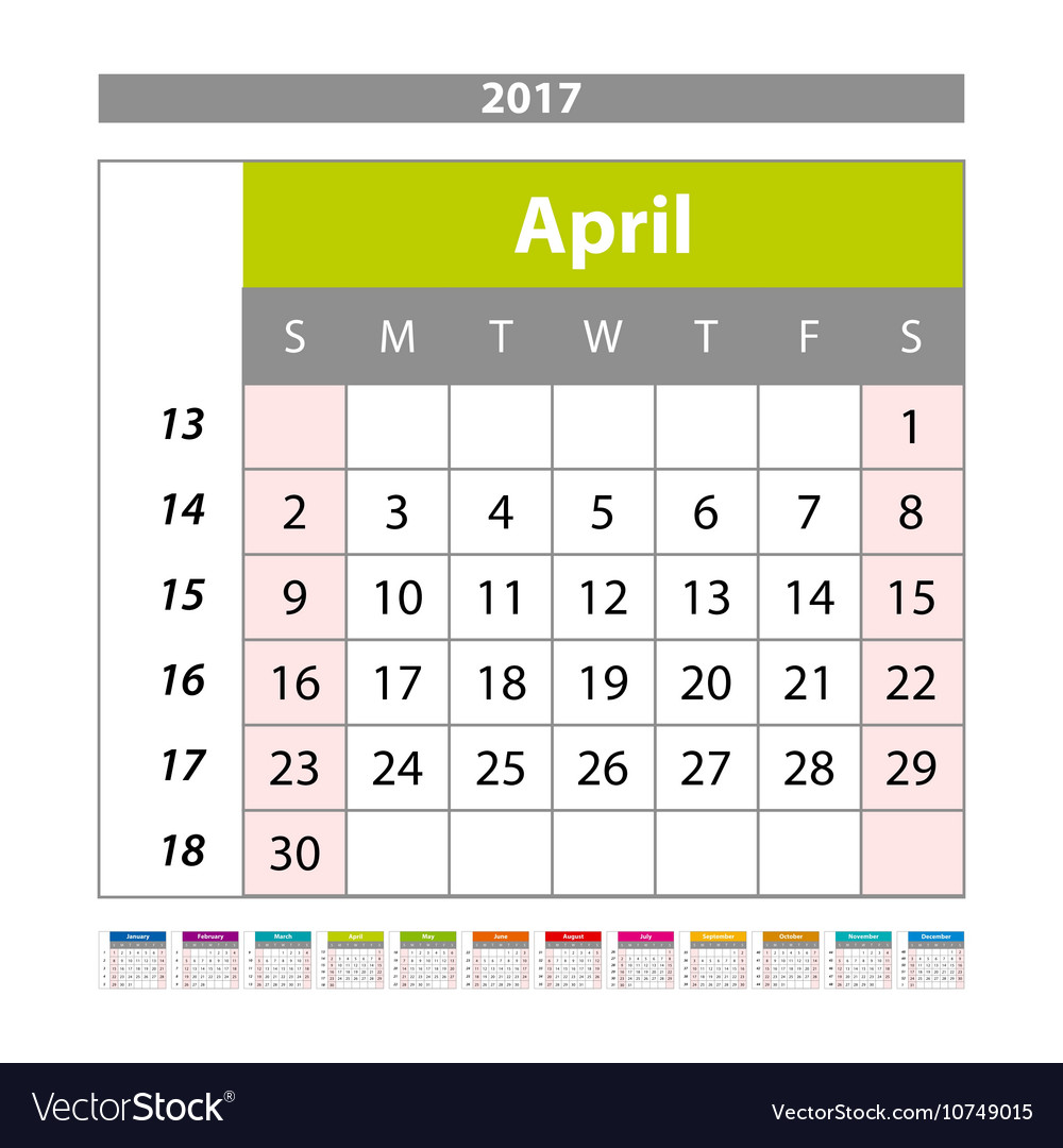Simple Digital Calendar For April 2017 Printable Vector Image