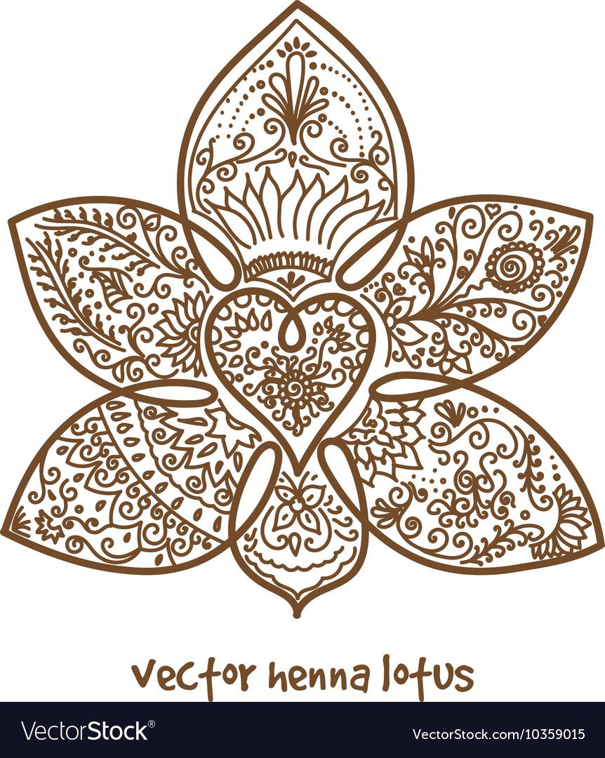 Tattoo Henna Lotus Royalty Free Vector Image Vectorstock