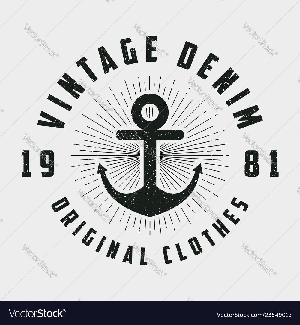 Vintage denim print for t-shirt