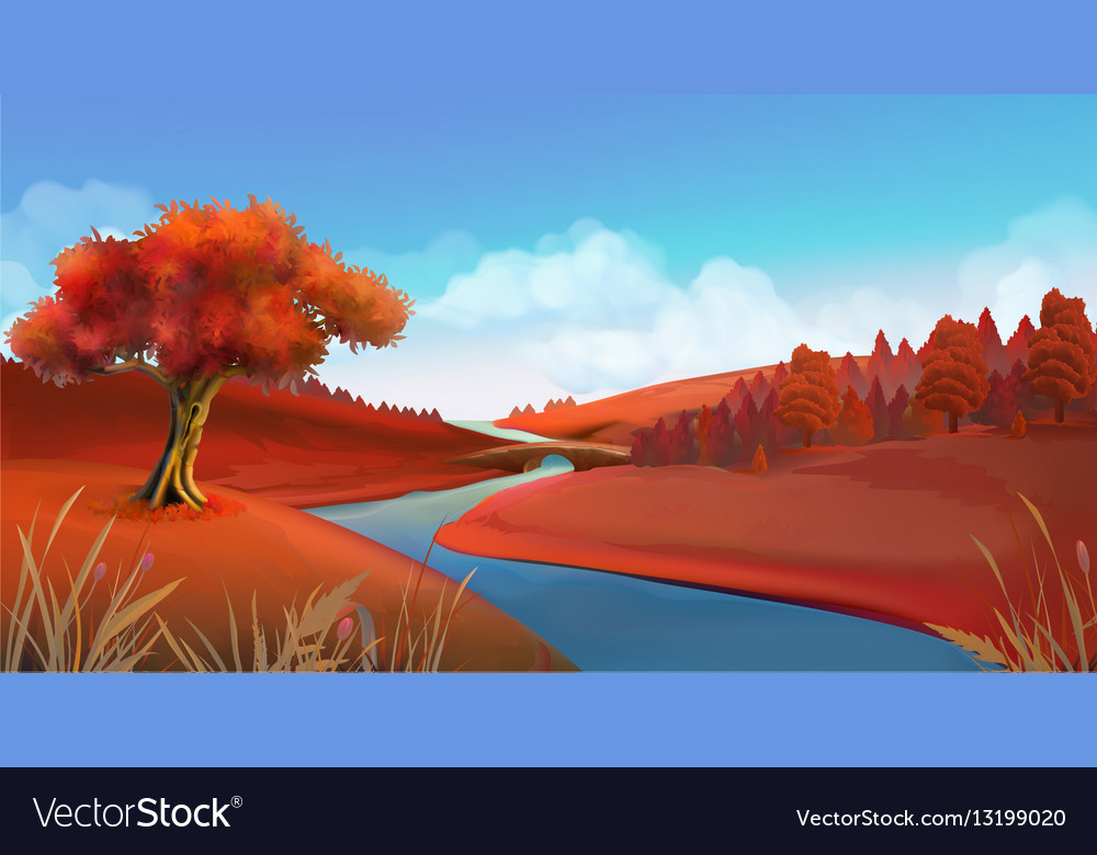 Autumn background Nature landscape graphics vector image