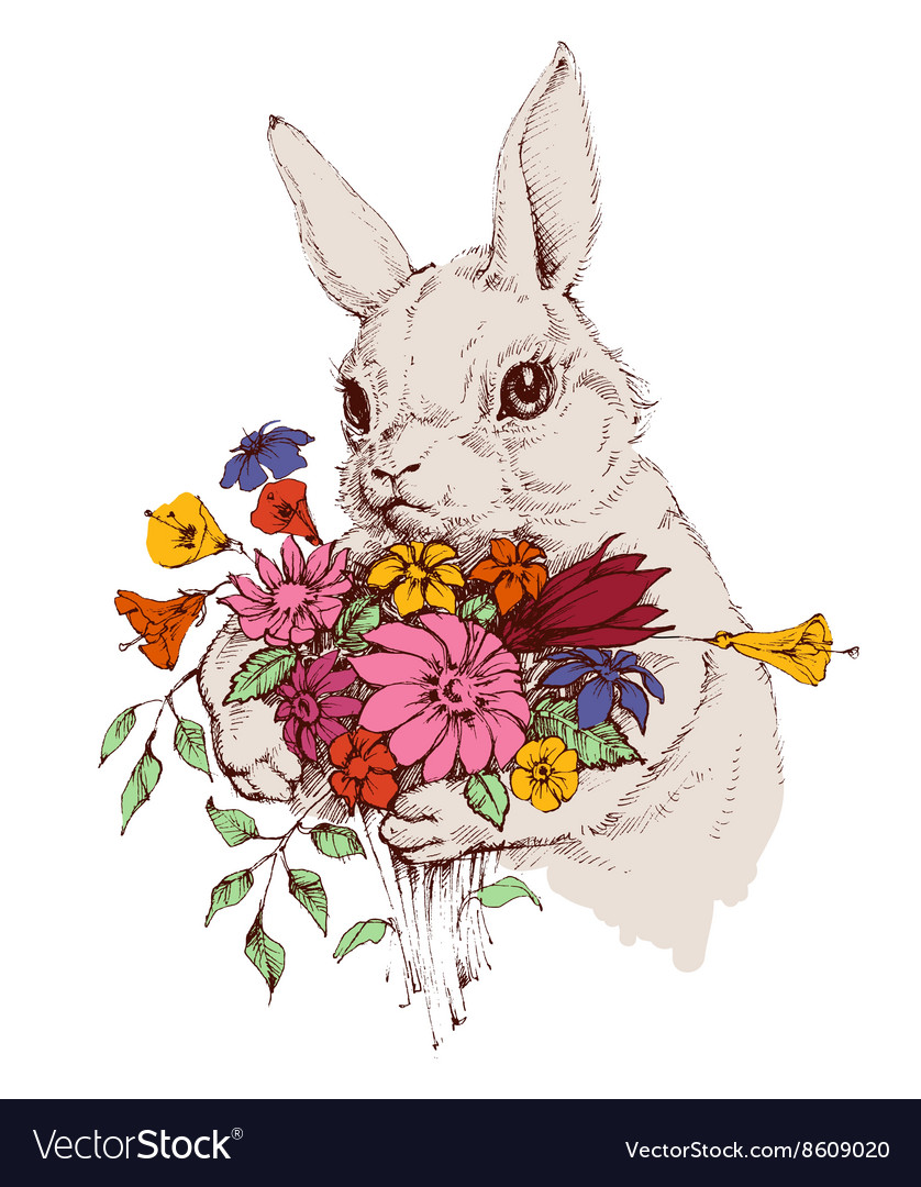 Bunny and a bunch flowers