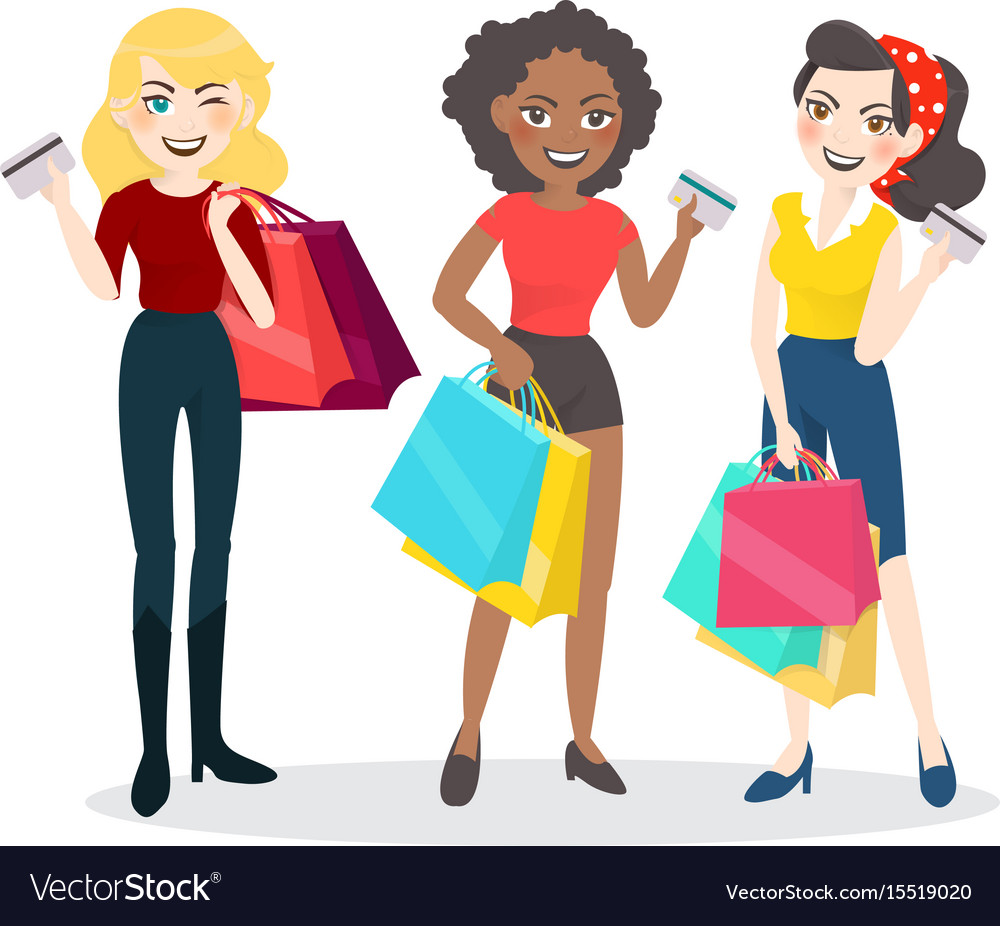 Cartoon woman group with shopping bag and credit vector image