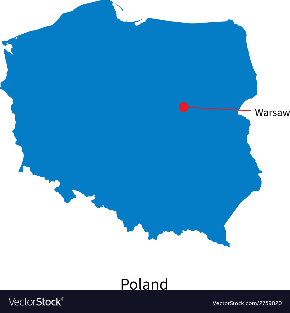 Detailed map of Poland and capital city Warsaw Vector Image