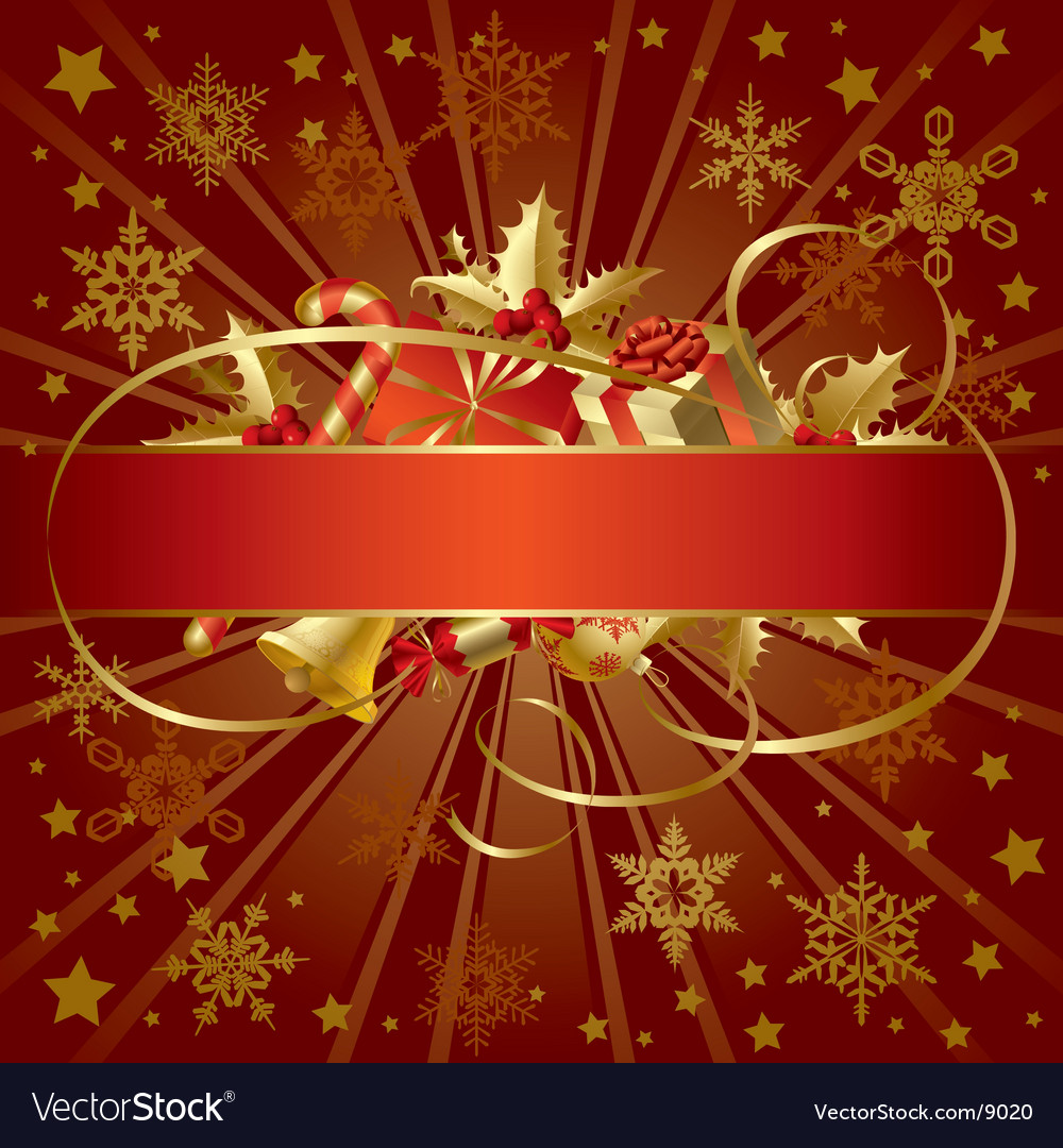 Gold Christmas banner vector image