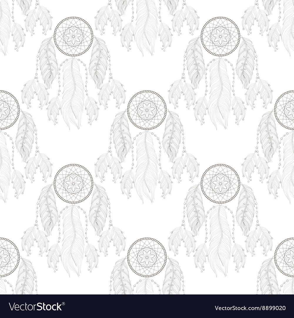 Hand drawn tribal Dream catcher seamless pattern