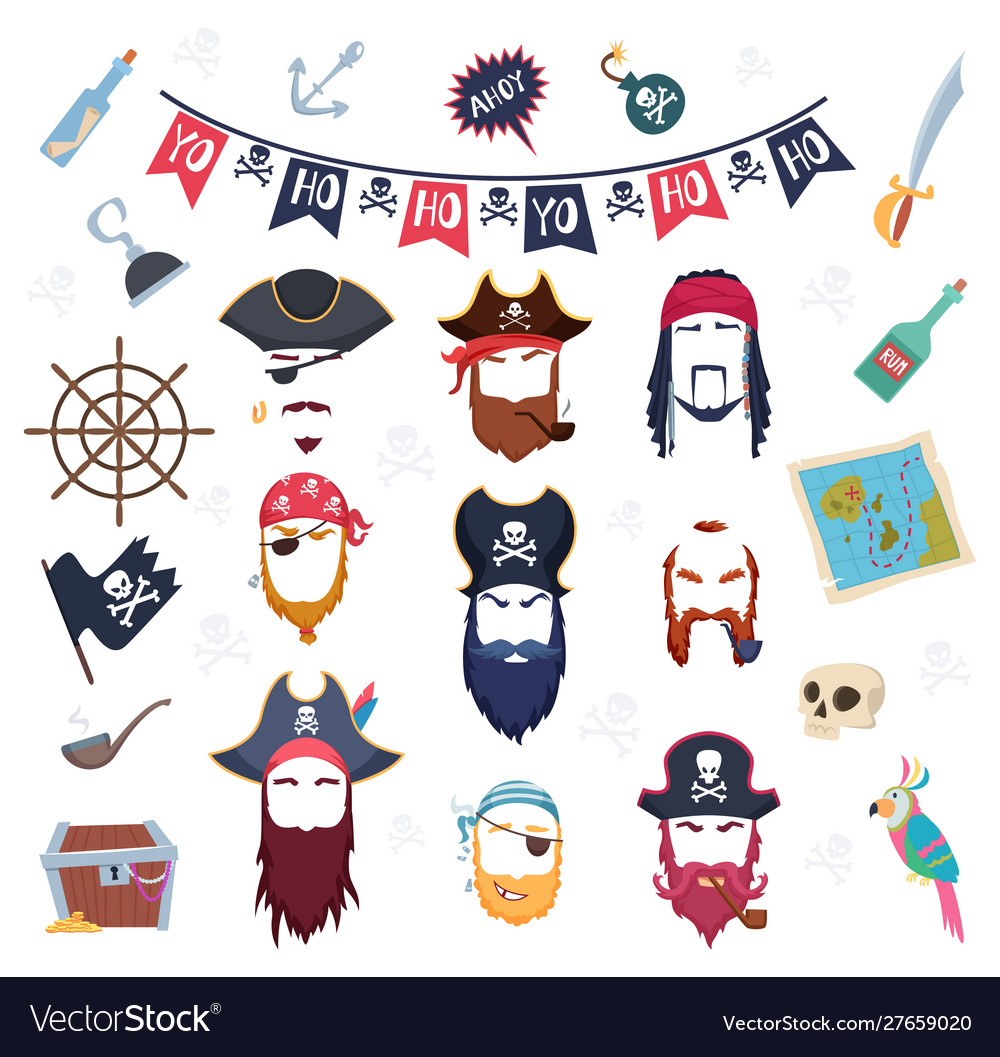 Pirate mask masquerade elements costumes vector
