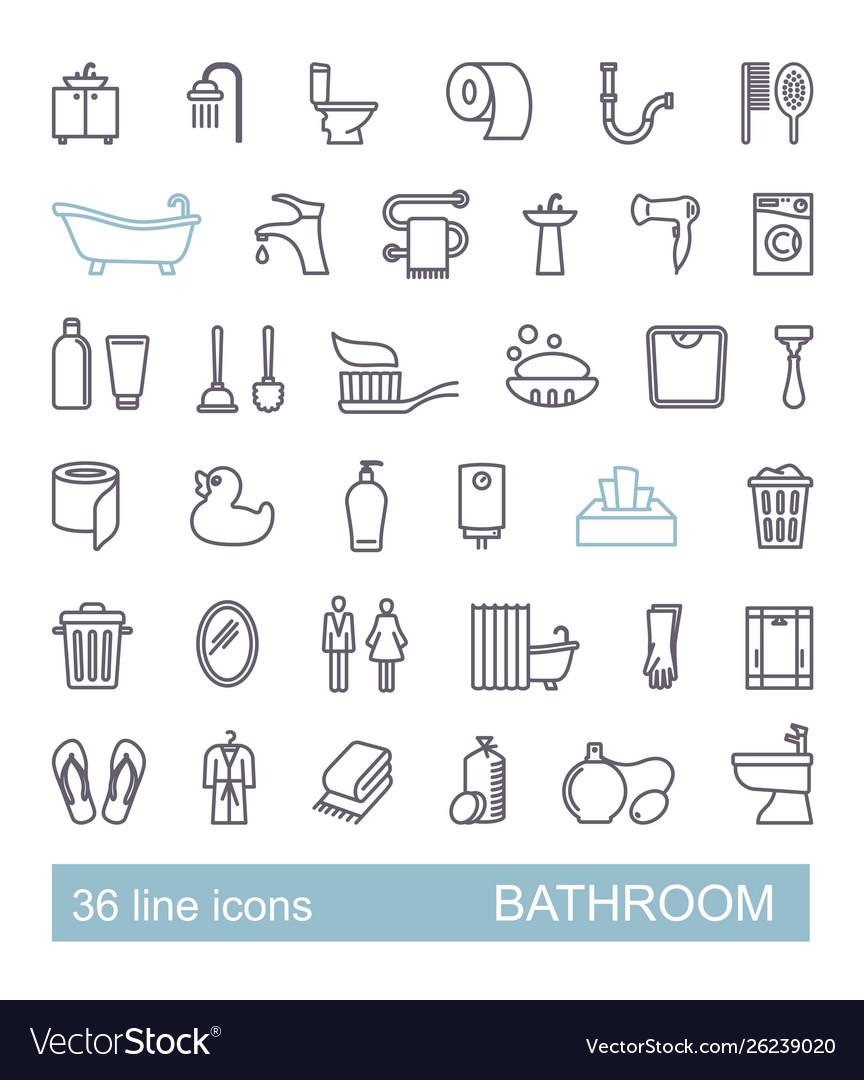 Restroom bathroom toilet con set line style