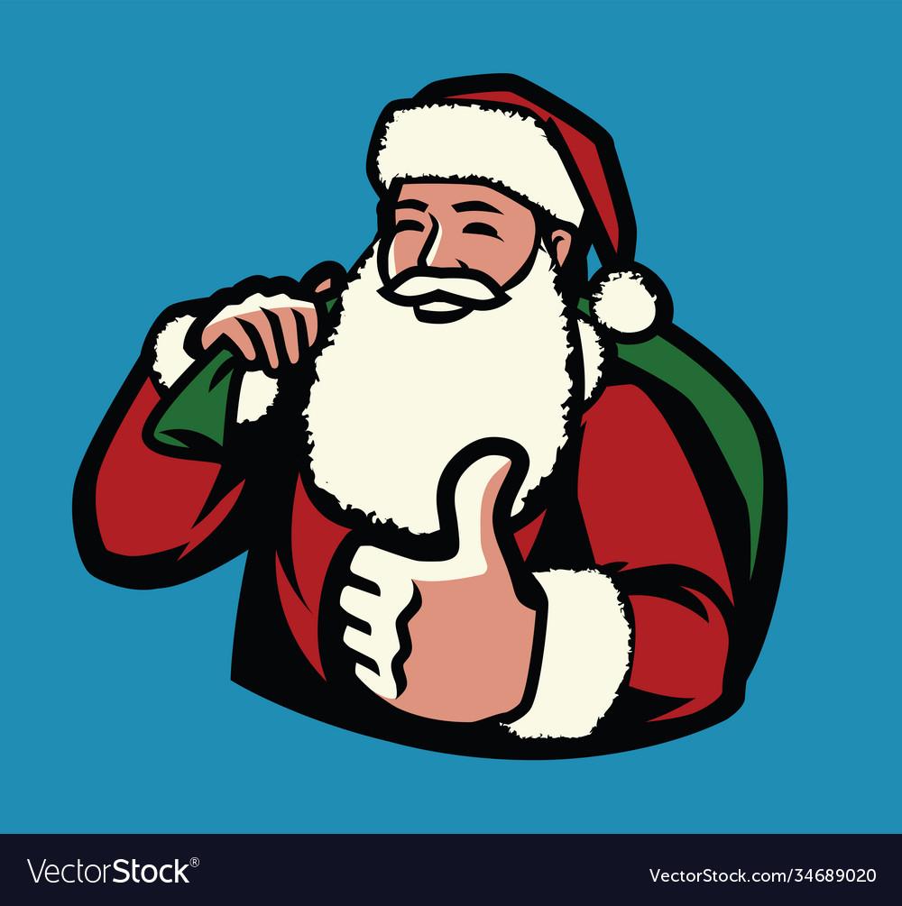 Santa claus with bag gifts christmas symbol