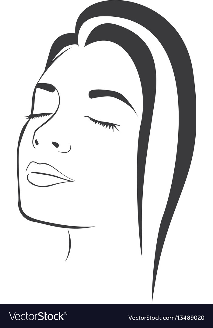 Side view sketch female face silhouette