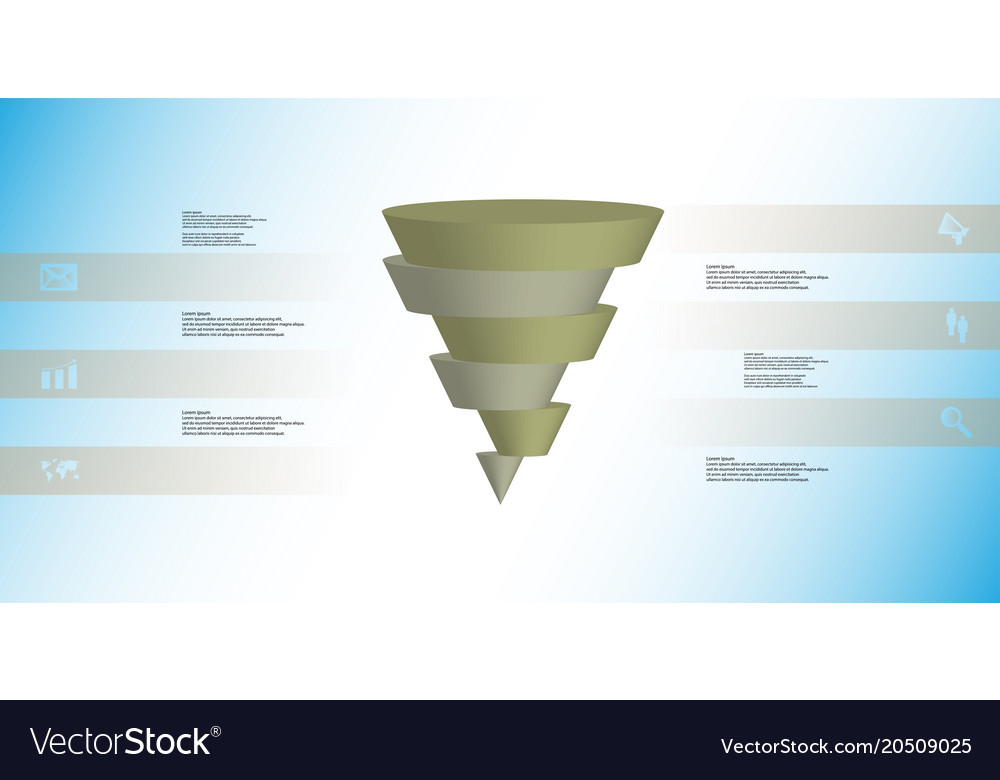 3d Infographic Template With Cone Horizontally Vector Image