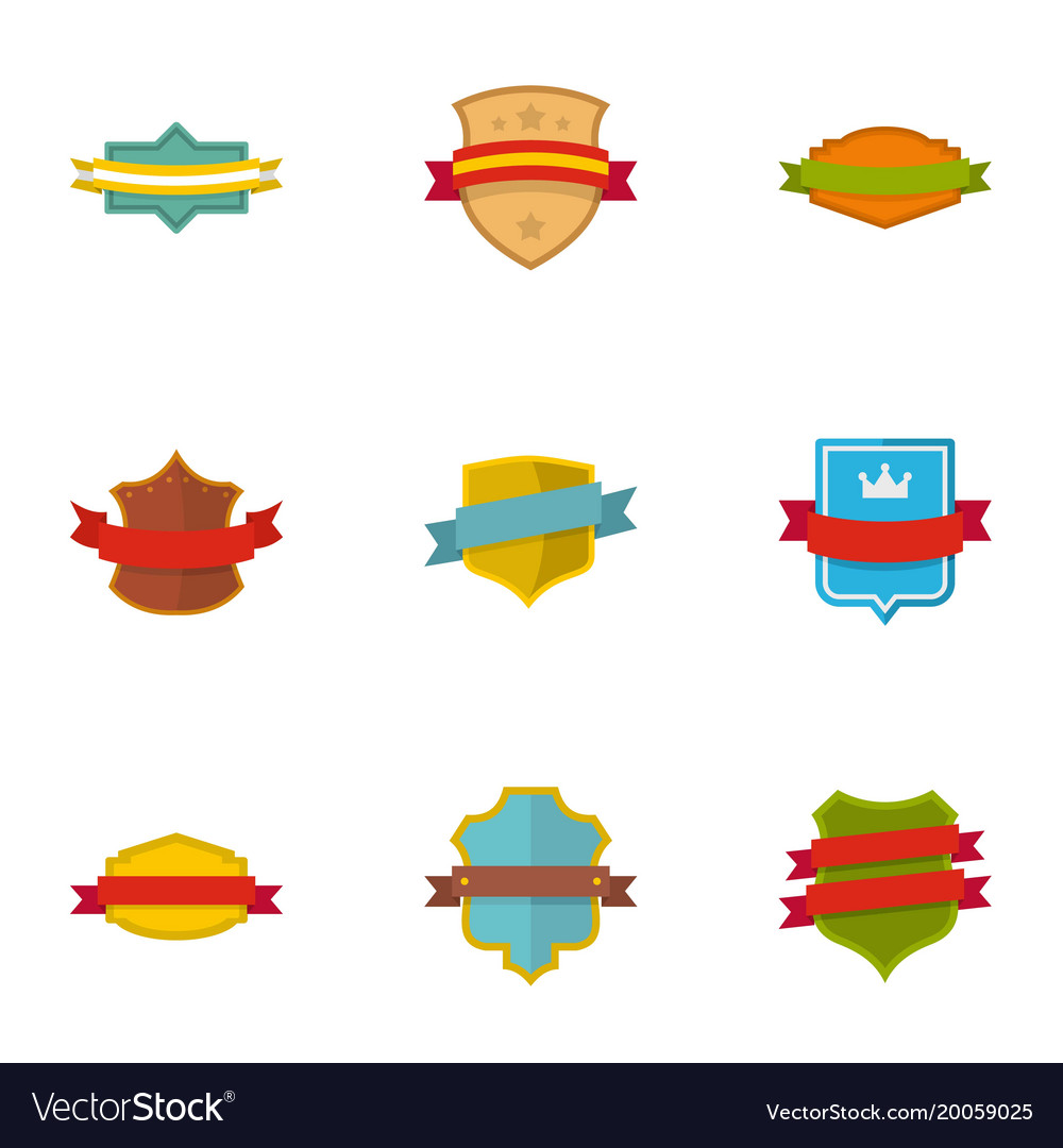 Banner icons set flat style