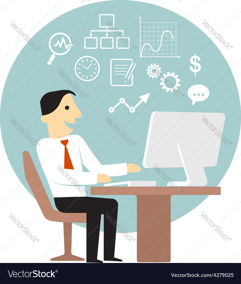 Businessman with computer doing business analysis