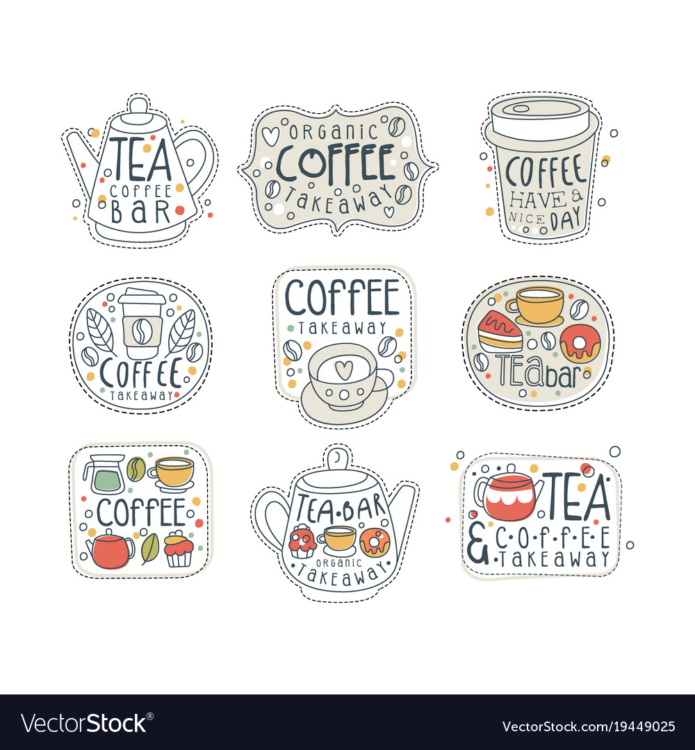 Coffee and tea labels for street shop cafe or bar vector image