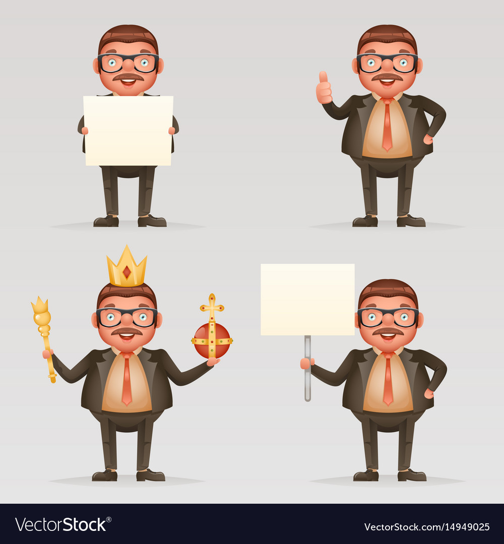 Cute successful businessman cheerful king crown on