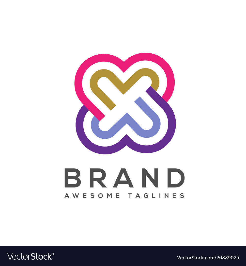 Double heart logo twin love logo vector image