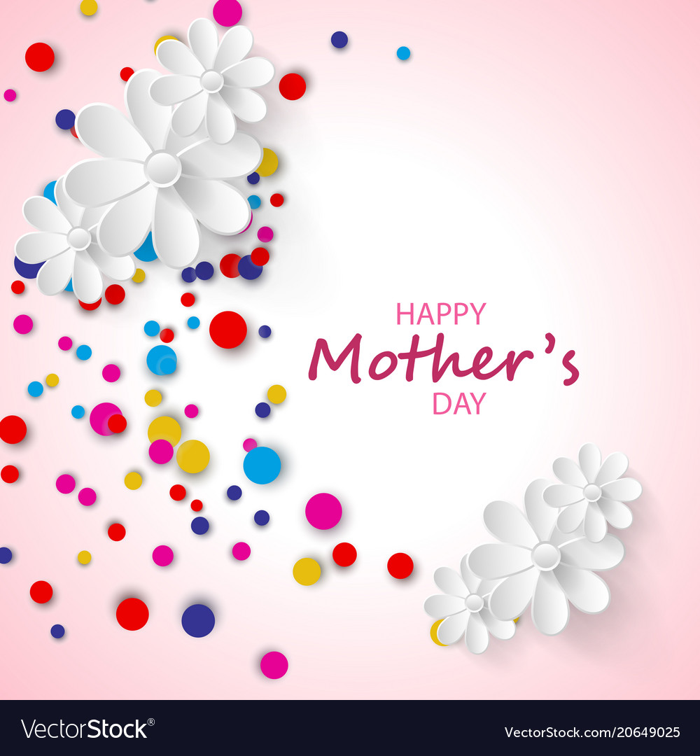 Happy mothers day greeting card confetti and