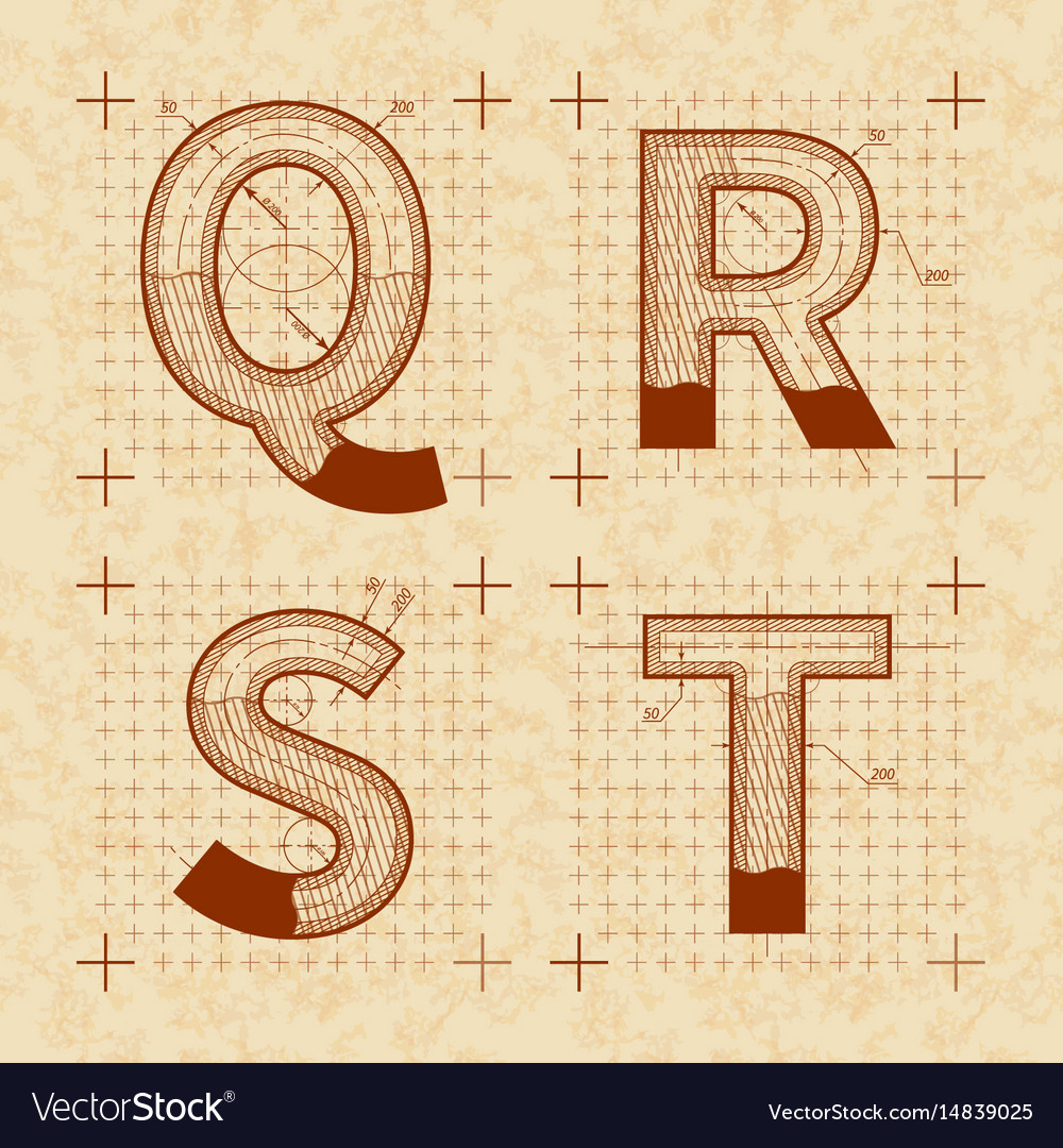 Medieval inventor sketches of q r s t letters