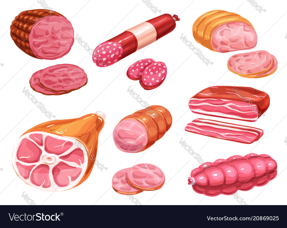 Sausage watercolor icon of beef pork meat product vector image