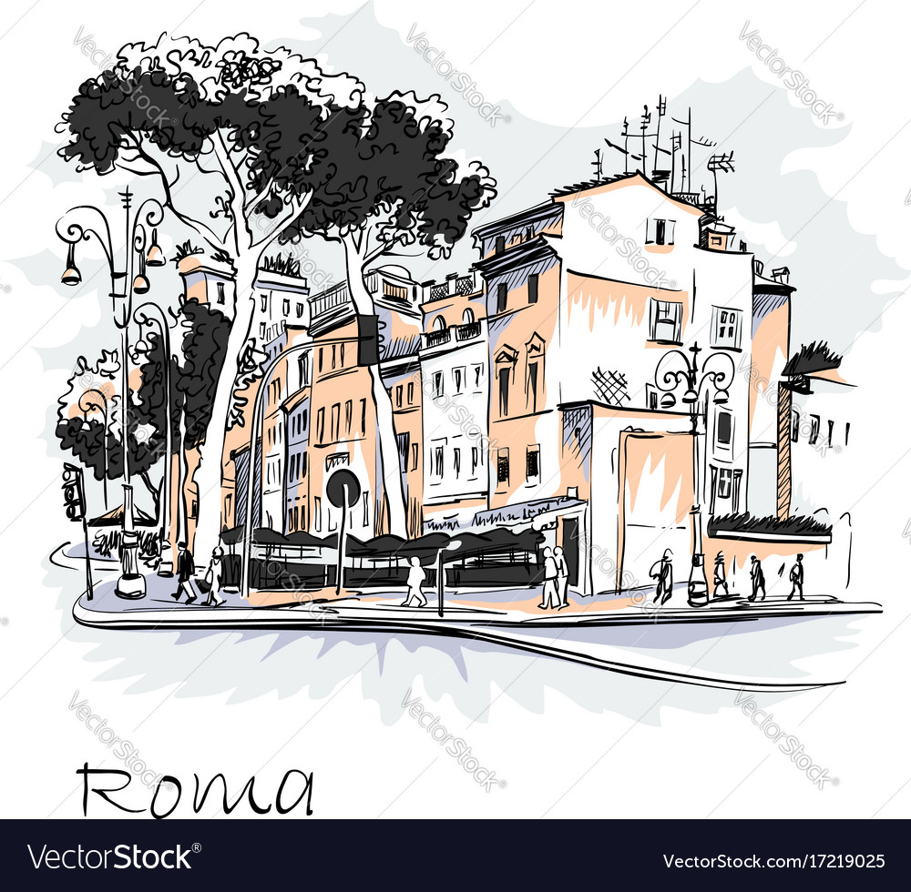 Scenic city view of rome italy vector image