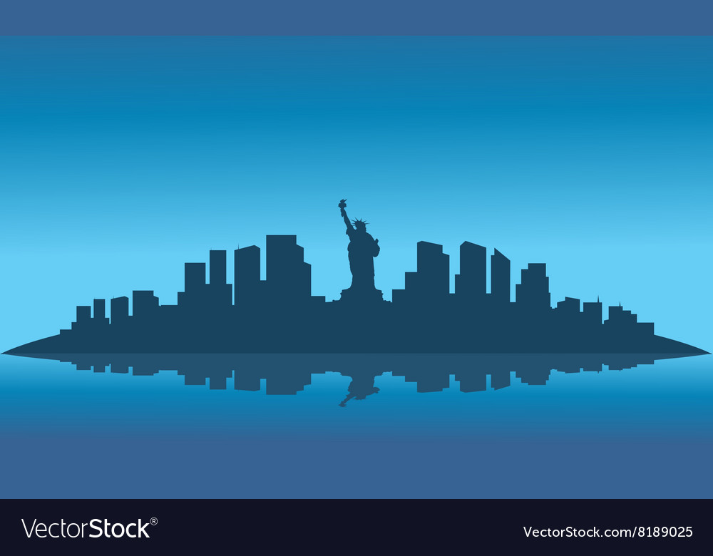 Silhouette of liberty on the island
