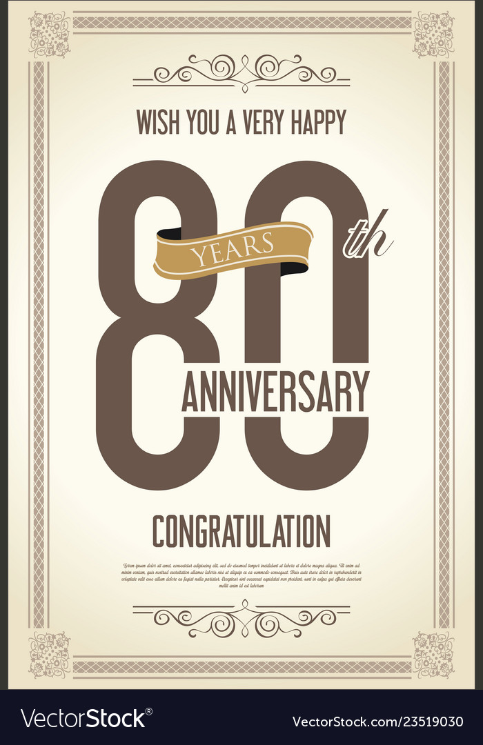 Anniversary retro vintage background 80 years