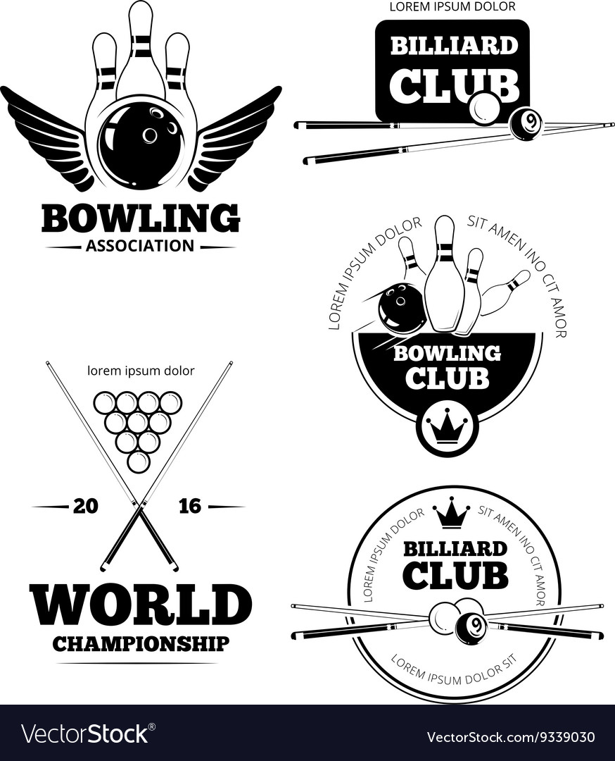 Billiards emblems and bowling labels