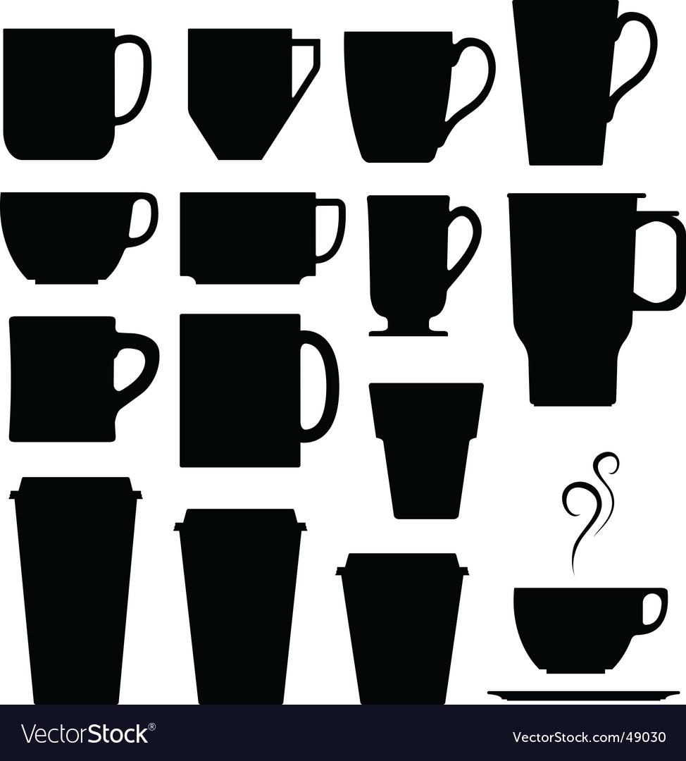 Coffee cups mugs and tea vector image