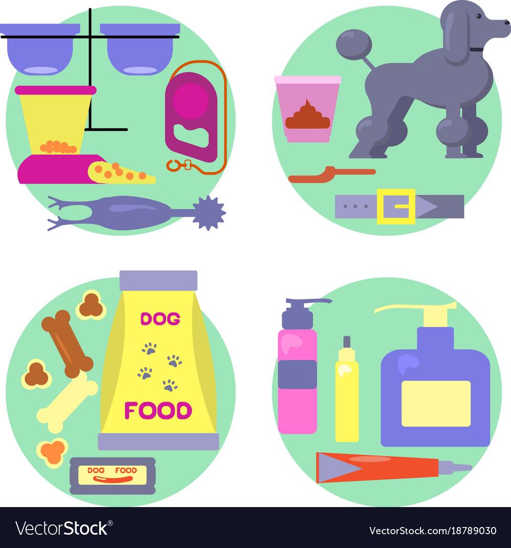 Dog shop icons set vector image