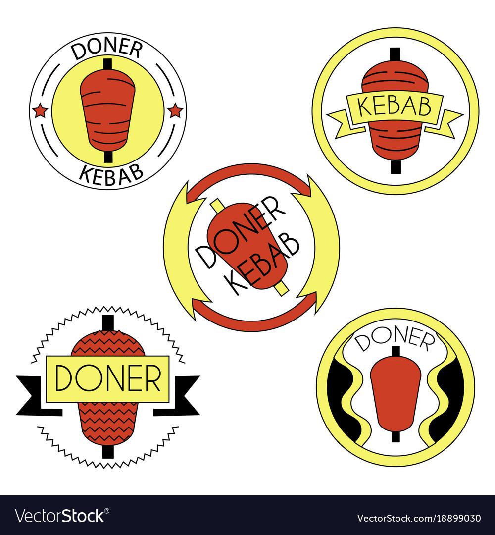 Doner kebab badge set vector image